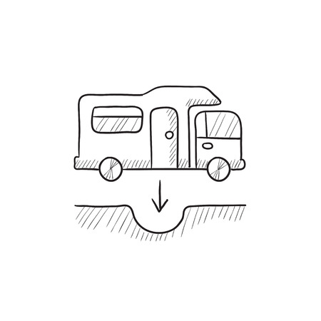 canalization: Motorhome and sump vector sketch icon isolated on background. Hand drawn Motorhome and sump icon. Motorhome and sump sketch icon for infographic, website or app.
