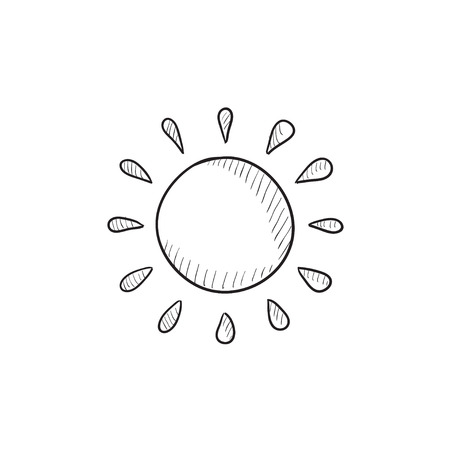 sunbath: Sun vector sketch icon isolated on background. Hand drawn Sun icon. Sun sketch icon for infographic, website or app.