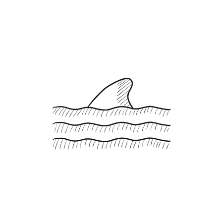 grampus: Dorsal shark fin above water vector sketch icon isolated on background. Hand drawn Dorsal shark fin above water icon. Dorsal shark fin above water sketch icon for infographic, website or app.