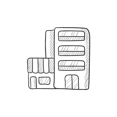 building sketch: Hotel building vector sketch icon isolated on background. Hand drawn Hotel building icon. Hotel building sketch icon for infographic, website or app. Illustration