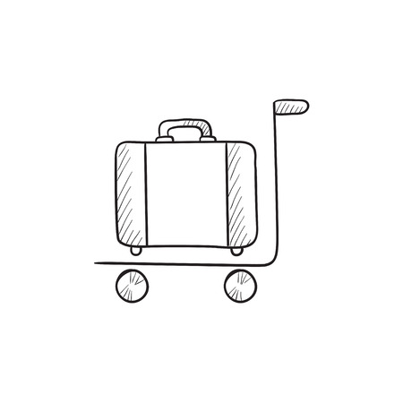 Luggage on trolley vector sketch icon isolated on background. Hand drawn Luggage on trolley icon. Luggage on trolley sketch icon for infographic, website or app.