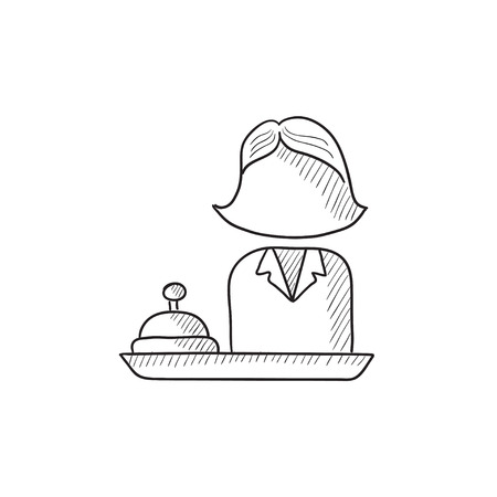 hospitality staff: Female receptionist vector sketch icon isolated on background. Hand drawn Female receptionist icon. Female receptionist sketch icon for infographic, website or app.