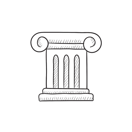 Ancient column vector sketch icon isolated on background. Hand drawn Ancient column icon. Ancient column sketch icon for infographic, website or app. Ilustração