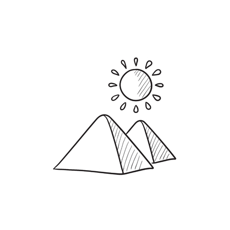 cheops: Egyptian pyramids vector sketch icon isolated on background. Hand drawn Egyptian pyramids icon. Egyptian pyramids sketch icon for infographic, website or app. Illustration