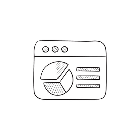 website window: Browser window with pie chart vector sketch icon isolated on background. Hand drawn Browser window with pie chart icon. Browser window with pie chart sketch icon for infographic, website or app.