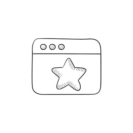 Browser window with star favorite sign vector sketch icon isolated on background. Hand drawn Browser window with star sign icon. Browser window with star sketch icon for infographic, website or app.