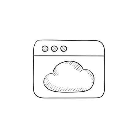Browser window with cloud vector sketch icon isolated on background. Hand drawn Browser window with cloud icon. Browser window with cloud sketch icon for infographic, website or app. Çizim