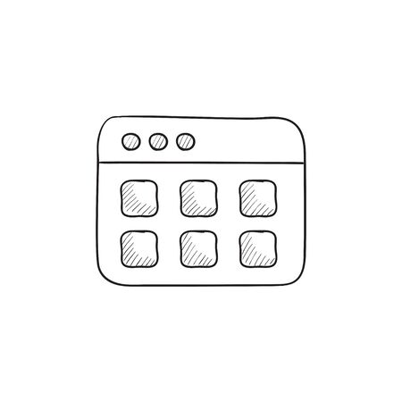website window: Browser window with folders vector sketch icon isolated on background. Hand drawn Browser window with folders icon. Browser window with folders sketch icon for infographic, website or app.