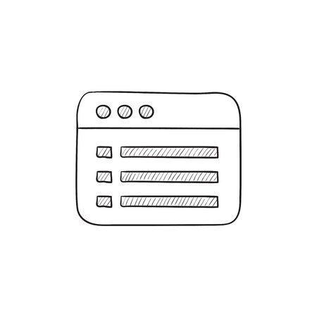website window: Browser window with folder contents vector sketch icon isolated on background. Hand drawn Browser window with folder contents icon. Browser window sketch icon for infographic, website or app.