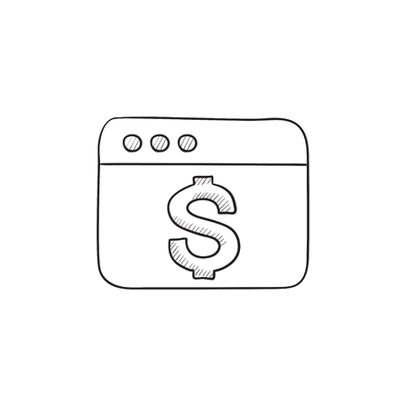website window: Browser window with dollar sign vector sketch icon isolated on background. Hand drawn Browser window with dollar sign icon. Browser window with dollar sign sketch icon for infographic, website or app.