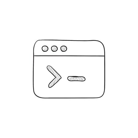 Browser window with command line vector sketch icon isolated on background. Hand drawn Browser window with command line icon. Browser window sketch icon for infographic, website or app.