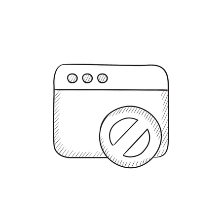 website window: Browser window with no sign vector sketch icon isolated on background. Hand drawn Browser window with no sign icon. Browser window with no sign sketch icon for infographic, website or app. Illustration