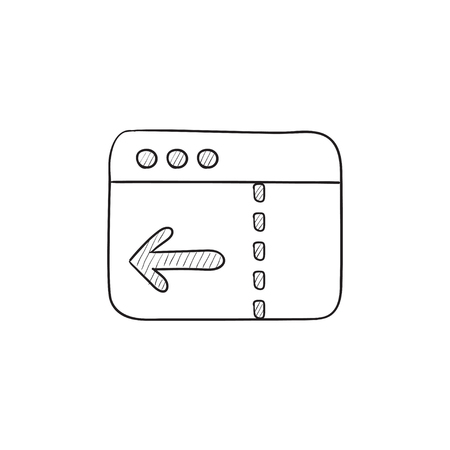website window: Browser window with arrow left vector sketch icon isolated on background. Hand drawn Browser window with arrow left icon. Browser window with arrow left sketch icon for infographic, website or app. Illustration