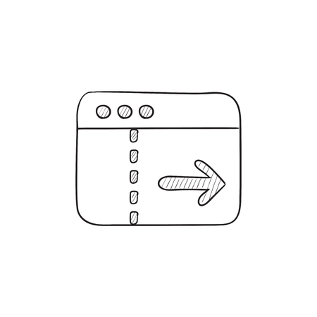 website window: Browser window with arrow right vector sketch icon isolated on background. Hand drawn Browser window with arrow right icon. Browser window with arrow right sketch icon for infographic, website or app. Illustration
