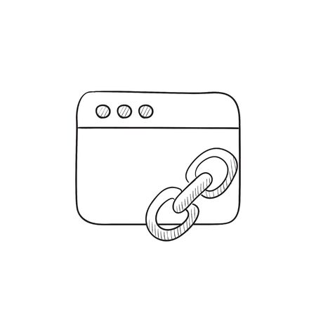 website window: Browser window with link sign vector sketch icon isolated on background. Hand drawn Browser window with link sign icon. Browser window with link sign sketch icon for infographic, website or app. Illustration