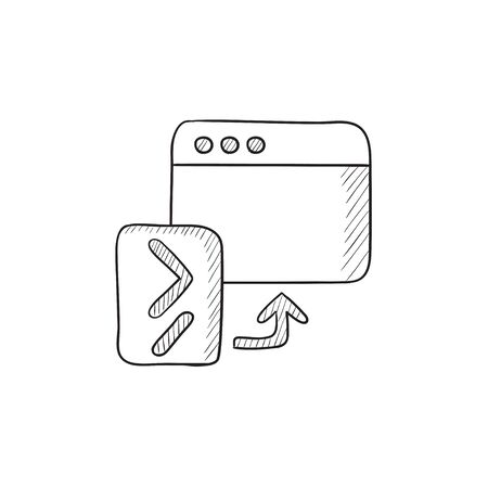 hardware configuration: Browser window with terminal startup vector sketch icon isolated on background. Hand drawn Browser window with terminal startup icon. Browser window sketch icon for infographic, website or app. Illustration