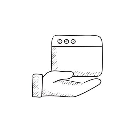 website window: Hand holding browser window vector sketch icon isolated on background. Hand drawn Hand holding browser window icon. Hand holding browser window sketch icon for infographic, website or app.