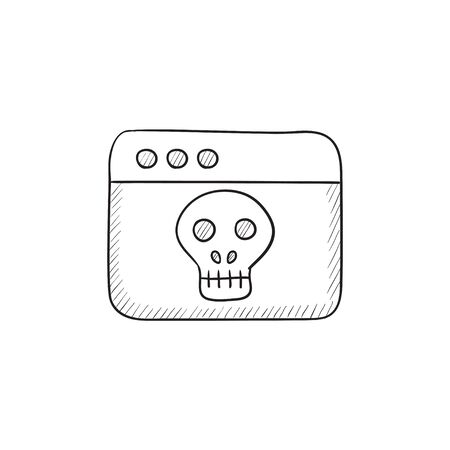 website window: Browser window with skull vector sketch icon isolated on background. Hand drawn Browser window with skull icon. Browser window with skull sketch icon for infographic, website or app.