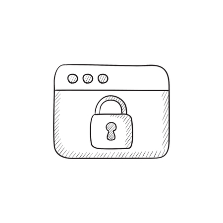 security icon: Security browser vector sketch icon isolated on background. Hand drawn Security browser icon. Security browser sketch icon for infographic, website or app.