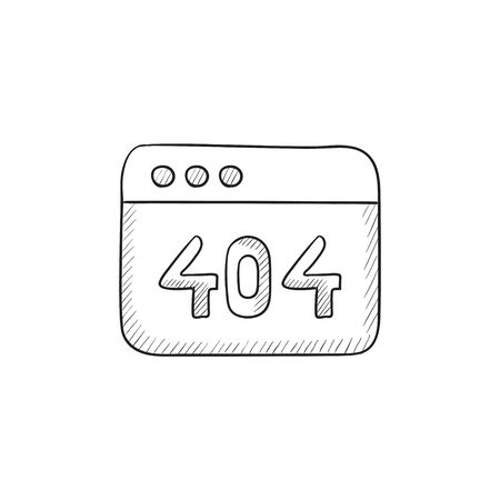 Browser window with inscription 404 error vector sketch icon isolated on background. Hand drawn Browser window with inscription 404 error icon. 404 error sketch icon for infographic, website or app. Ilustracja