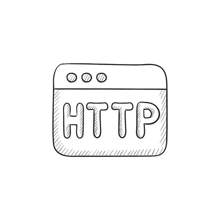 website window: Browser window with http text vector sketch icon isolated on background. Hand drawn Browser window with http text icon. Browser window with http text sketch icon for infographic, website or app.