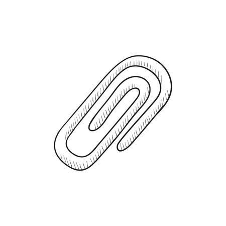 attach: Attach symbol vector sketch icon isolated on background. Hand drawn Attach symbol icon. Attach symbol sketch icon for infographic, website or app.
