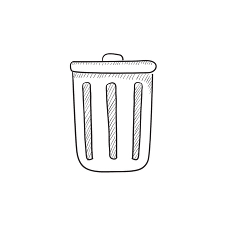 delete button: Delete button vector sketch icon isolated on background. Hand drawn Delete button icon. Delete button sketch icon for infographic, website or app. Illustration