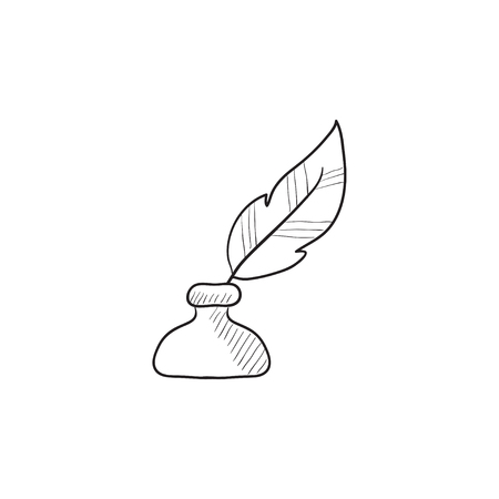 inkpot: Feather in inkwell vector sketch icon isolated on background. Hand drawn Feather in inkwell icon. Feather in inkwell sketch icon for infographic, website or app.