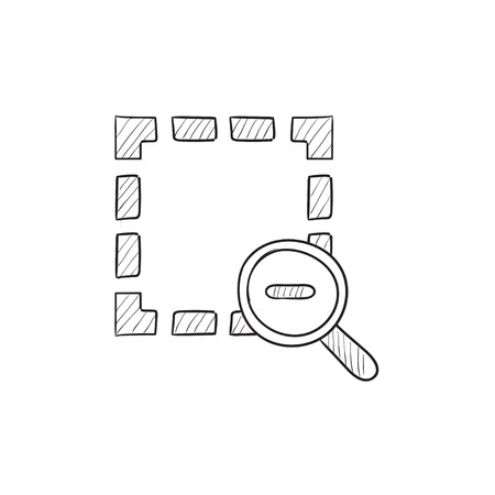 sketch out: Zoom out vector sketch icon isolated on background. Hand drawn Zoom out icon. Zoom out sketch icon for infographic, website or app. Illustration