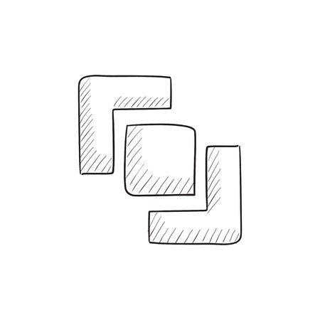 pathfinder: Divide vector sketch icon isolated on background. Hand drawn Divide icon. Divide sketch icon for infographic, website or app.