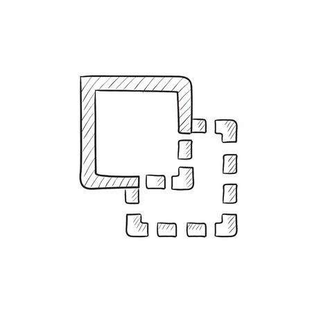 pathfinder: Trim vector sketch icon isolated on background. Hand drawn Trim icon. Trim sketch icon for infographic, website or app.