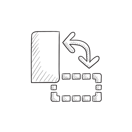 orientation: Page orientation vector sketch icon isolated on background. Hand drawn Page orientation icon. Page orientation sketch icon for infographic, website or app.