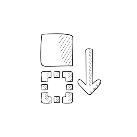 hand movement: Movement of files vector sketch icon isolated on background. Hand drawn Movement of files icon. Movement of files sketch icon for infographic, website or app.