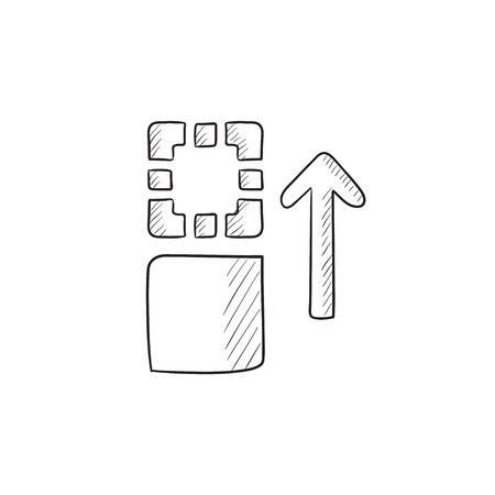 shifting: Movement of files vector sketch icon isolated on background. Hand drawn Movement of files icon. Movement of files sketch icon for infographic, website or app.