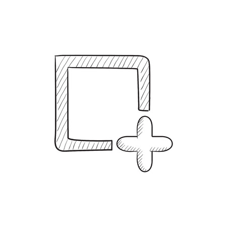 Add file vector sketch icon isolated on background. Hand drawn Add file icon. Add file sketch icon for infographic, website or app. Çizim