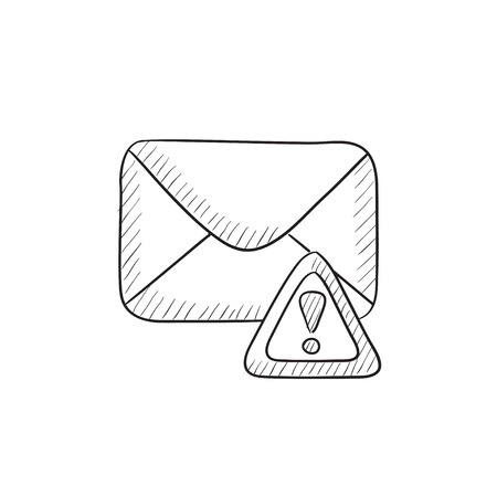 alerts: Envelope mail with warning signal vector sketch icon isolated on background. Hand drawn Envelope mail with warning signal icon. Envelope mail sketch icon for infographic, website or app. Illustration