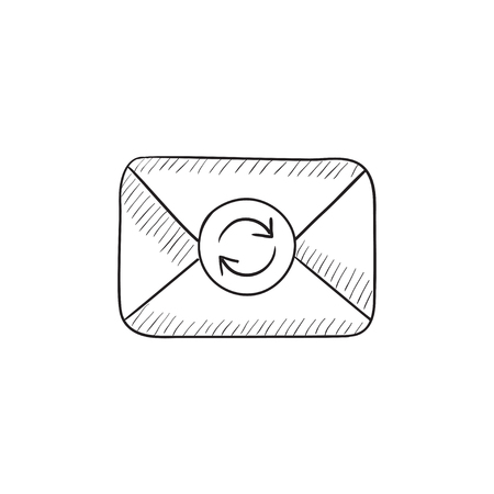 Envelope mail with refresh sign vector sketch icon isolated on background. Hand drawn Envelope mail with refresh sign icon. Envelope mail with refresh sign sketch icon for infographic, website or app.