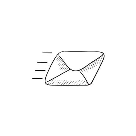 Vliegende e-mail vector schets pictogram geïsoleerd op de achtergrond. Hand getekend Flying e-mailpictogram. Vliegende e-mail schets pictogram voor infographic, website of app.