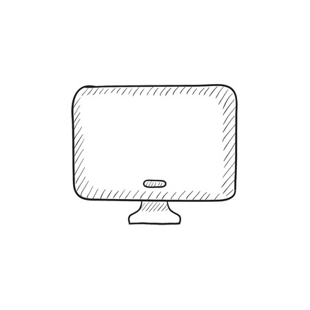 flat screen: Monitor vector sketch icon isolated on background. Hand drawn Monitor icon. Monitor sketch icon for infographic, website or app. Illustration