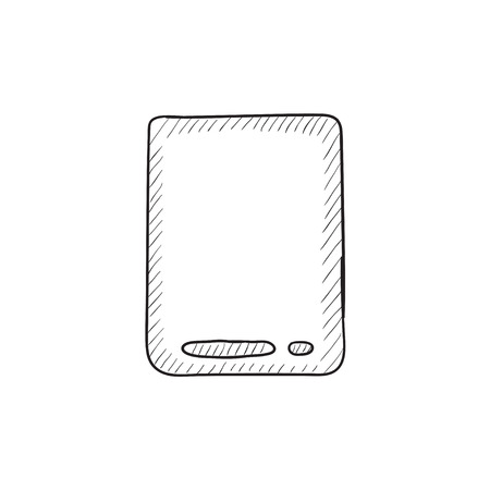 touch screen hand: Touch screen tablet vector sketch icon isolated on background. Hand drawn Touch screen tablet icon. Touch screen tablet sketch icon for infographic, website or app.