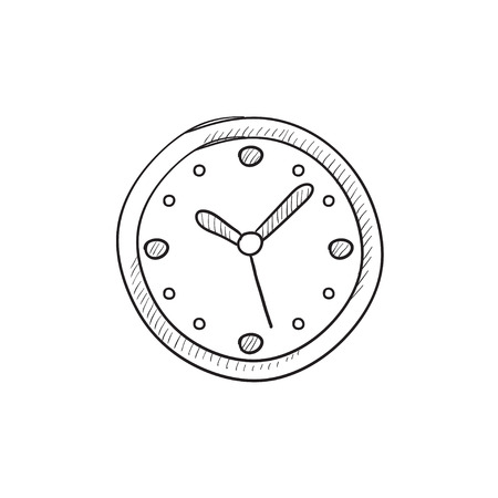 Wall clock vector sketch icon isolated on background. Hand drawn Wall clock icon. Wall clock sketch icon for infographic, website or app. 向量圖像