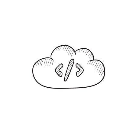 transferring: Transferring files cloud apps vector sketch icon isolated on background. Hand drawn Transferring files cloud apps icon. Transferring files cloud apps sketch icon for infographic, website or app.