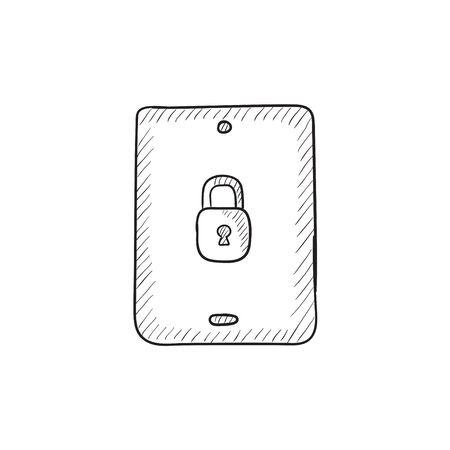Digital tablet security vector sketch icon isolated on background. Hand drawn Digital tablet security icon. Digital tablet security sketch icon for infographic, website or app. Çizim