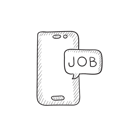Touch screen phone with message vector sketch icon isolated on background. Hand drawn Touch screen phone with message icon. Touch screen phone with message sketch icon for infographic, website or app. Stock fotó - 57828697