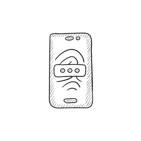Mobile phone scanning fingerprint vector sketch icon isolated on background. Hand drawn Mobile phone scanning fingerprint icon. Phone scanning fingerprint sketch icon for infographic, website or app. Illustration