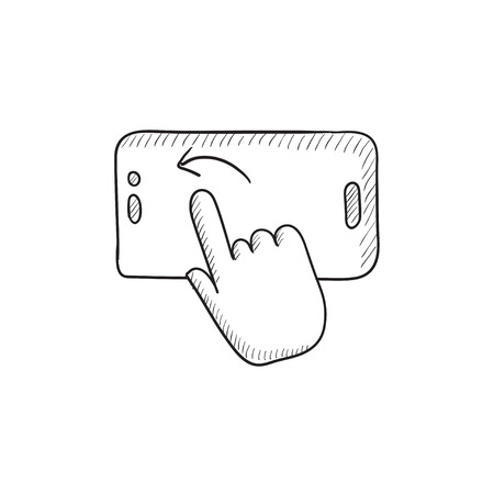 Finger touching smartphone vector sketch icon isolated on background. Hand drawn Finger touching smartphone icon. Finger touching smartphone sketch icon for infographic, website or app. Illustration