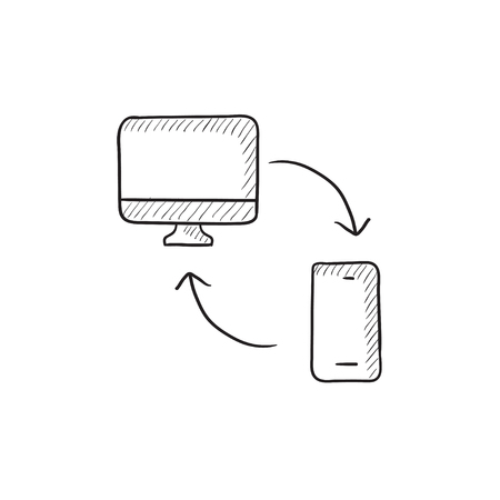 synchronization: Synchronization computer with mobile phone vector sketch icon isolated on background. Hand drawn Synchronization computer with phone icon. Synchronization sketch icon for infographic, website or app. Illustration