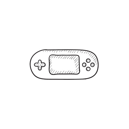 handheld device: Game console gadget vector sketch icon isolated on background. Hand drawn Game console gadget icon. Game console gadget sketch icon for infographic, website or app. Illustration