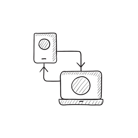 synchronization: Synchronization smartphone with laptop vector sketch icon isolated on background. Hand drawn Synchronization smartphone with laptop icon. Synchronization sketch icon for infographic, website or app.