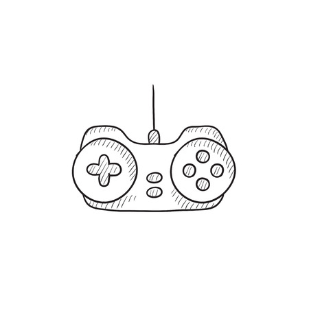 Joystick vector sketch icon isolated on background. Hand drawn Joystick icon. Joystick sketch icon for infographic, website or app. 矢量图像